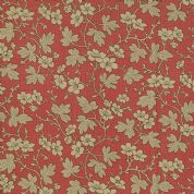Moda French General Favorites - Bolt 4977 - Beige & Black Floral on Red - Moda No. 13525 28 - Cotton Fabric